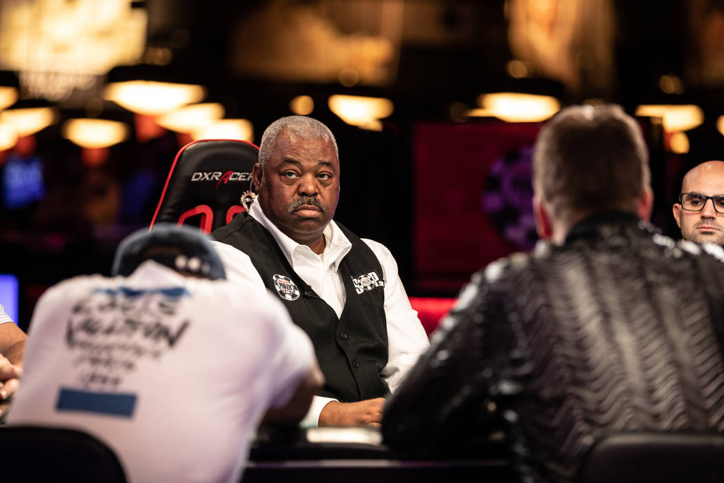 Daniel Harris deals a game at the World Series of Poker at the Rio in Las Vegas on Wednesday, July 11, 2018. (Todd Prince/ Las Vegas Review-Journal)