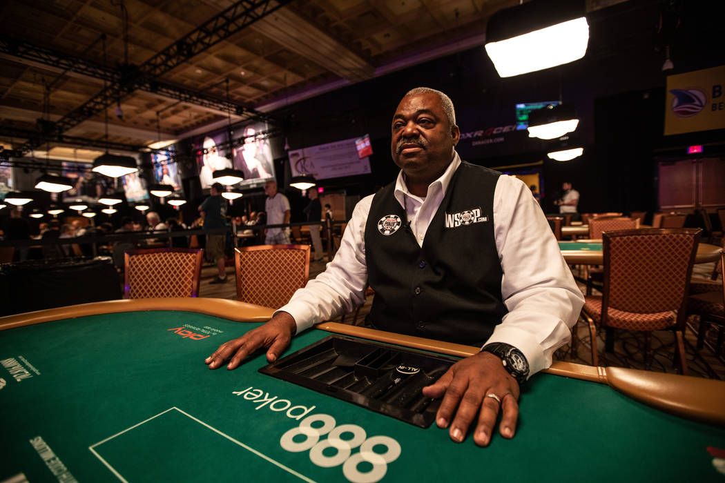 Daniel Harris takes a break between dealing games at the World Series of Poker at the Rio in Las Vegas on Wednesday, July 11, 2018. (Todd Prince/ Las Vegas Review-Journal)