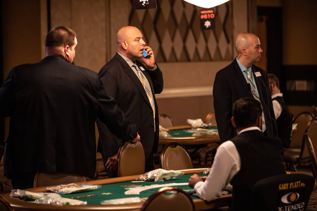 Tournament Director Charlie Ciresi with other floor supervisors at the Rio in Las Vegas on Friday, July 13, 2018. (Todd Prince/ Las Vegas Review-Journal)