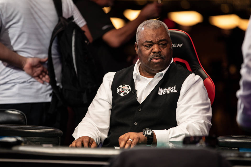 Daniel Harris deals the Main Event on Day 7 at the World Series of Poker at the Rio in Las Vegas on Wednesday, July 11, 2018. (Todd Prince/ Las Vegas Review-Journal)