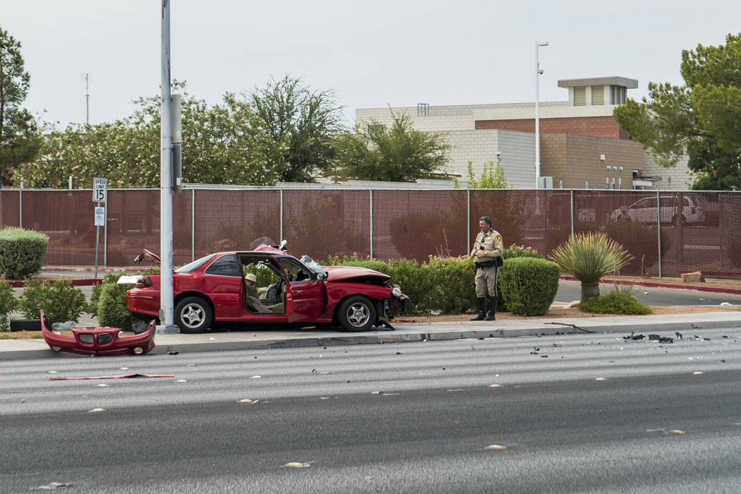 One person died after vehicle collision at Pecos Road and Stewart Avenue in Las Vegas, Saturday, July 7, 2018. (Marcus Villagran/Las Vegas Review-Journal) @brokejournalist