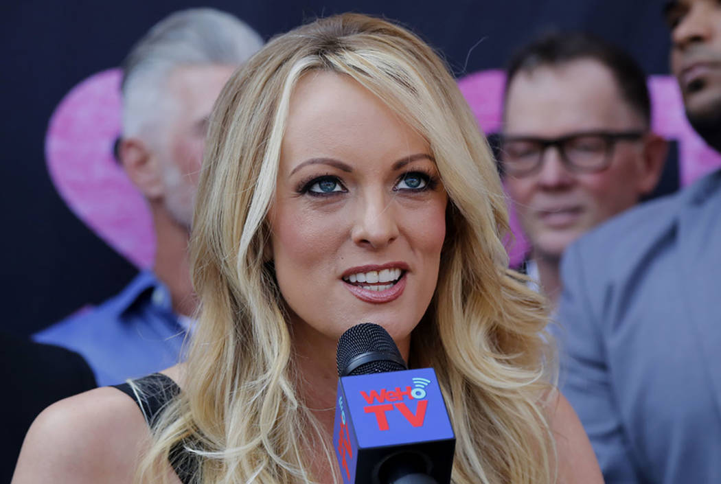 Porn actress Stormy Daniels speaks during a ceremony for her receiving a City Proclamation and Key to the City in West Hollywood, Calif., in May 2018. (AP Photo/Ringo H.W. Chiu)