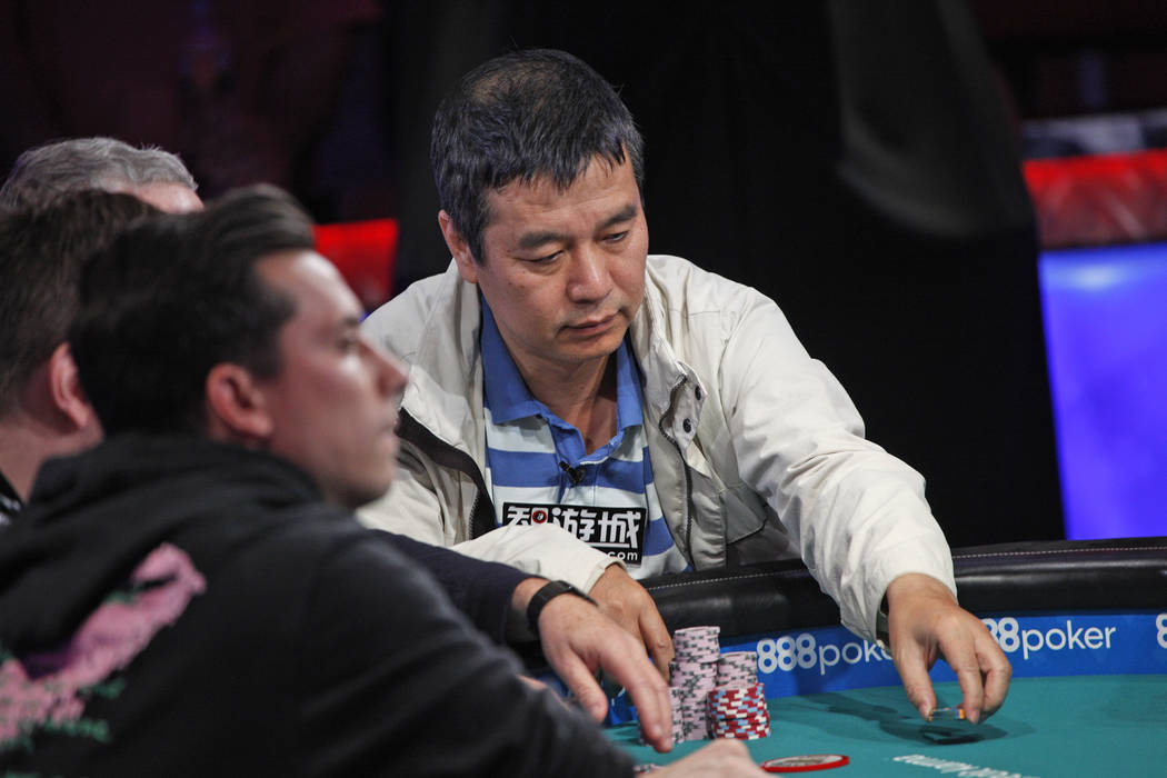 Yueqi Zhu places a bet on the seventh day of the World Series of Poker at the Rio Convention Center in Las Vegas, Wednesday, July 11, 2018. (Rachel Aston/Las Vegas Review-Journal) @rookie__rae