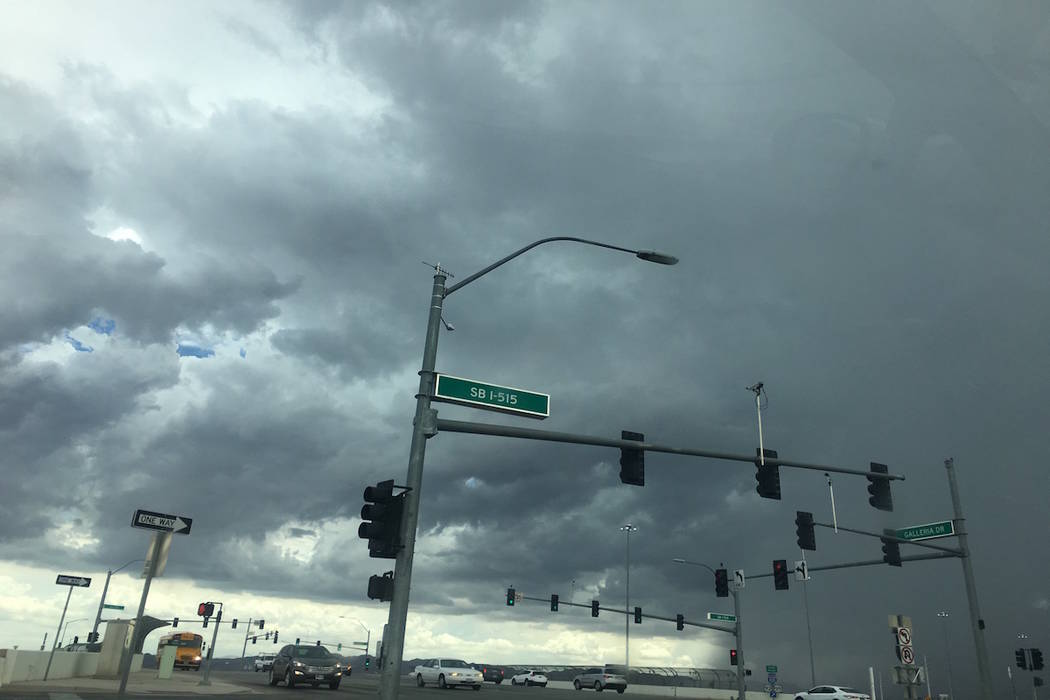 Clouds cover the sky near the Interstate 15 and Galleria Drive in Henderson Thursday, July 12, 2018. (Janna Karel/Las Vegas Review-Journal)