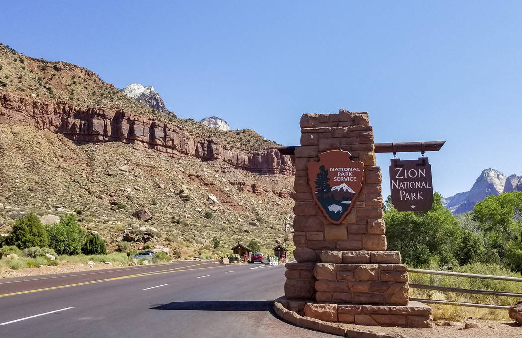 Zion National Park entrance in Utah on Friday, July 14, 2017. (Patrick Connolly/Las Vegas Review-Journal)