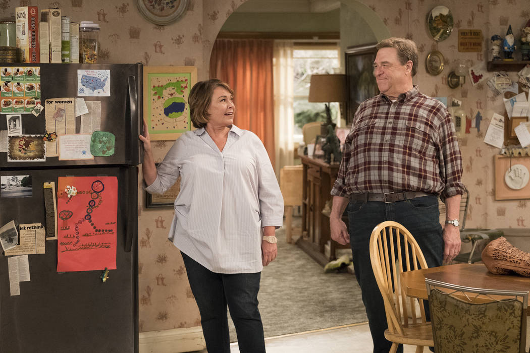 "This image released by ABS shows Roseanne Barr, left, and John Goodman in a scene from the comedy series ""Roseanne."" ABC's ""Roseanne"" revival is in the running for Emmy nominat ..."