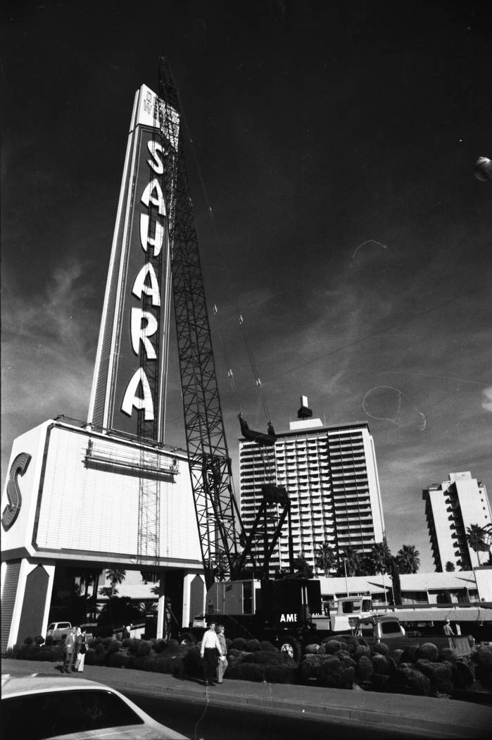 The Sahara hotel-casino erected a new 222 1/4 ft tall sign in 1980. Young Electric Sign Company (YESCO) constructed it at a cost of $1 million and claimed it was the largest free standing sign in ...