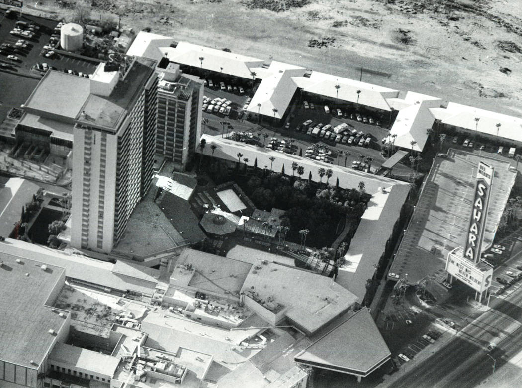 Aerial View of the Sahara hotel-casino in 1982. (Las Vegas Review-Journal File Photo)