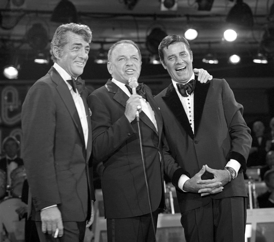Frank Sinatra reunites Jerry Lewis and Dean Martin during the Jerry Lewis MDA Labor Day Telethon in 1976 at the Sahara hotel-casino. (Las Vegas News Bureau)