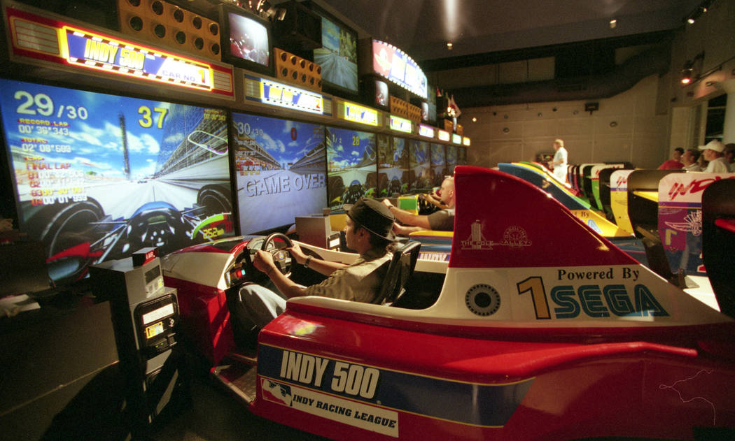 The Sahara Speedway virtual reality experience at the Sahara hotel-casino in 1997. (Las Vegas Review-Journal File Photo)