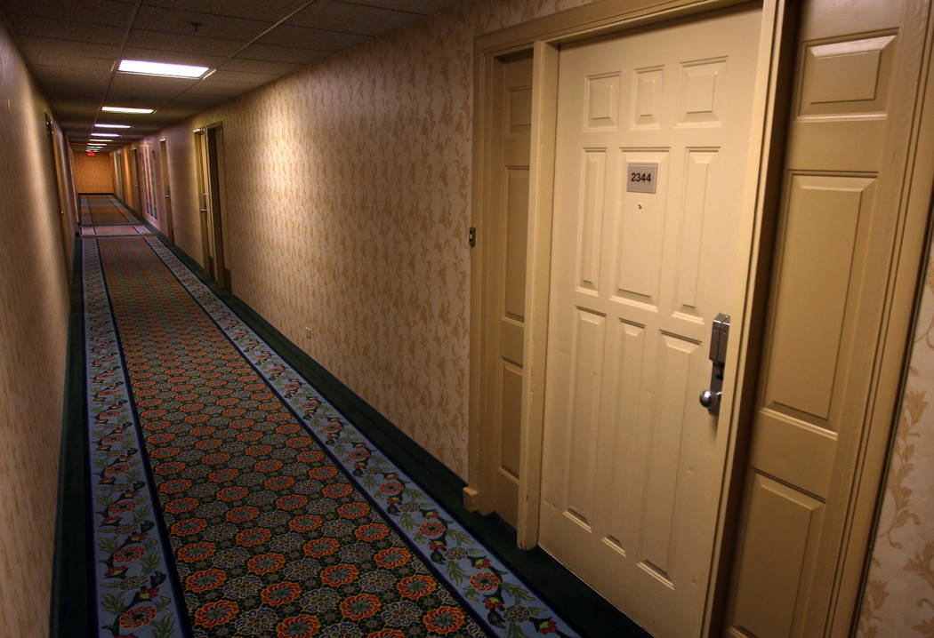 The door to room 2344, known as The Beatles Suite, is shown at the Sahara hotel-casino in 2007. The Beatles allegedly stayed in the suite when they played at the Las Vegas Convention Center in 196 ...