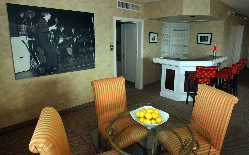 The dining room and bar area of room 2344 at the Sahara hotel-casino, known as The Beatles Suite, is shown in 2007. The Beatles allegedly stayed in the suite when they played at the Las Vegas Conv ...