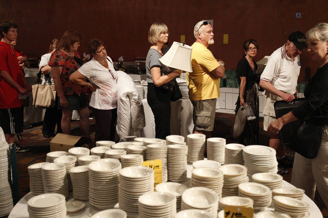 People wait to buy items at a liquidation sale at the Sahara hotel-casino in June of 2011. (Las Vegas Review-Journal File Photo)