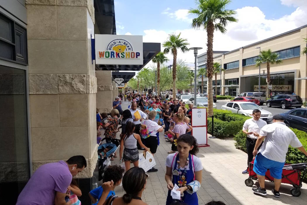"Guests wait in line for ""Pay Your Age"" day at Build-A-Bear in Downtown Summerlin on Thursday, July 12, 2018. (Wade Millward/Las Vegas Review-Journal) @wademillward"
