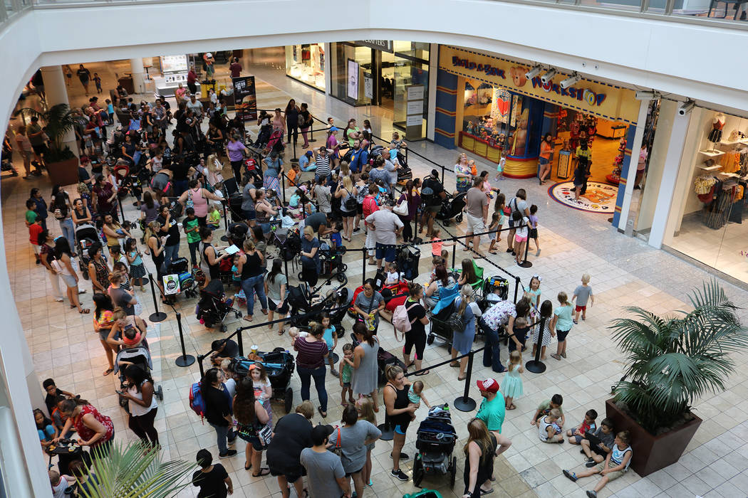 "Estimates of over 1,000 people lined up for Build-A-Bear's ""Pay Your Age"" promotion at Galleria at Sunset shopping center in Henderson on July 12, 2018. (Janna Karel Las Vegas Review-Journal)"