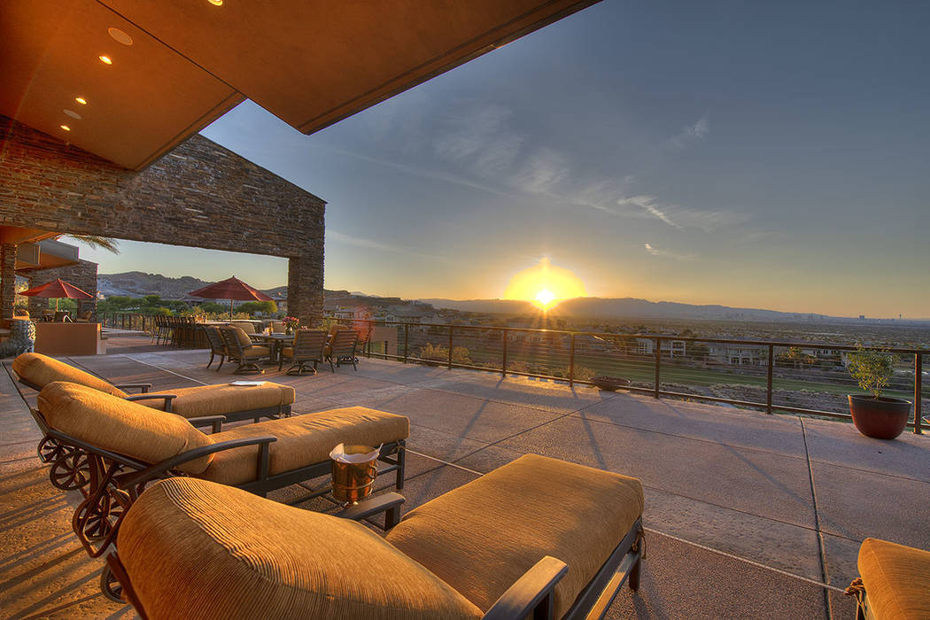 The home has a large patio. (Synergy/Sotheby's International Realty)