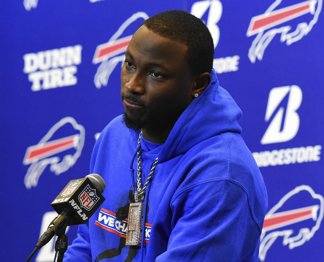 In this Dec. 17, 2017, file photo, Buffalo Bills running back LeSean McCoy (25) speaks with the media following an NFL football game against the Miami Dolphins, in Orchard Park, N.Y. (AP Photo/Ric ...