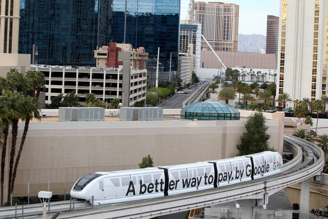 The Las Vegas Monorail near the MGM Grand Tuesday, March 20, 2018. The Las Vegas Monorail Co. hopes to extend the existing 3.9-mile SLS-to-MGM route an additional 1.14 miles to Mandalay Bay. K.M. ...