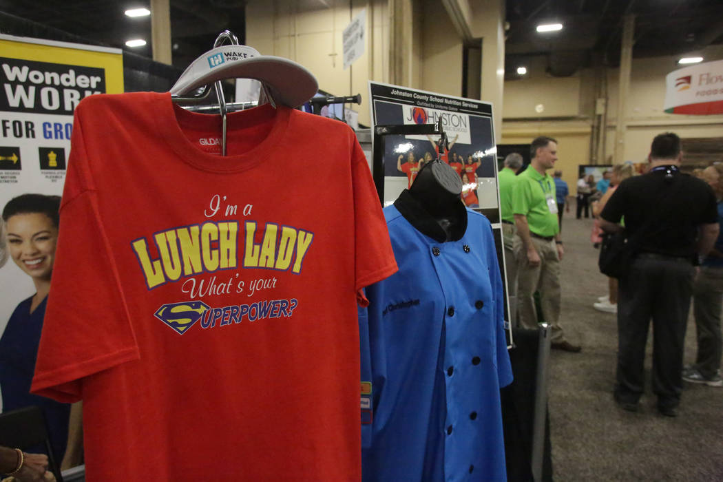 Uniforms Galore displays some of their apparel at the annual conference of the School Nutrition Association at Mandalay Convention Center on Tuesday, July 10, 2018. Michael Quine Las Vegas Review- ...