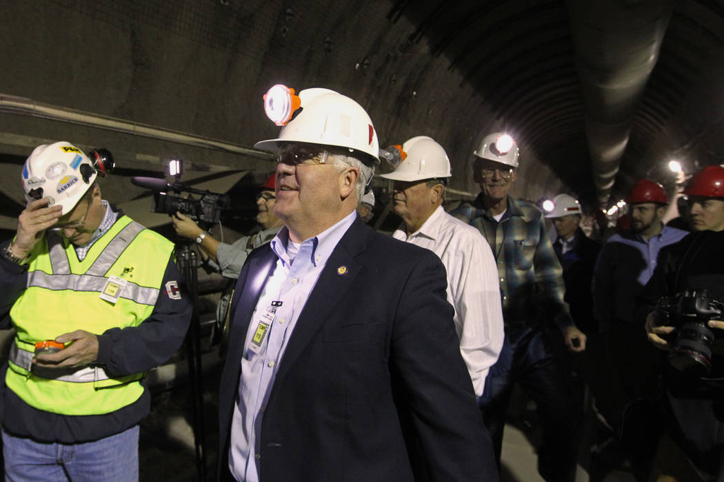 U.S. Rep. John Shimkus, R-Ill., leads a congressional tour of the Yucca Mountain exploratory tunnel Thursday, April 9, 2015. (Las Vegas Review-Journal)
