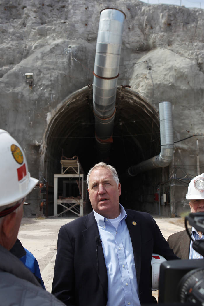 U.S. Rep. John Shimkus, R-Ill, speaks to members of the media after a congressional tour of the Yucca Mountain exploratory tunnel Thursday, April 9, 2015. (Las Vegas Review-Journal)