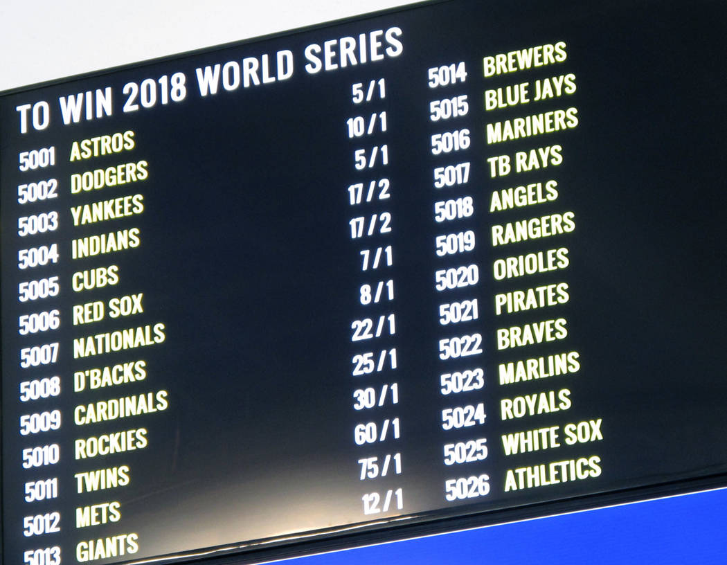 This June 14, 2018 photo shows the odds on the 2018 baseball World Series on a video board at Monmouth Park racetrack in Oceanport N.J. moments before it became legal in New Jersey. State gambling ...