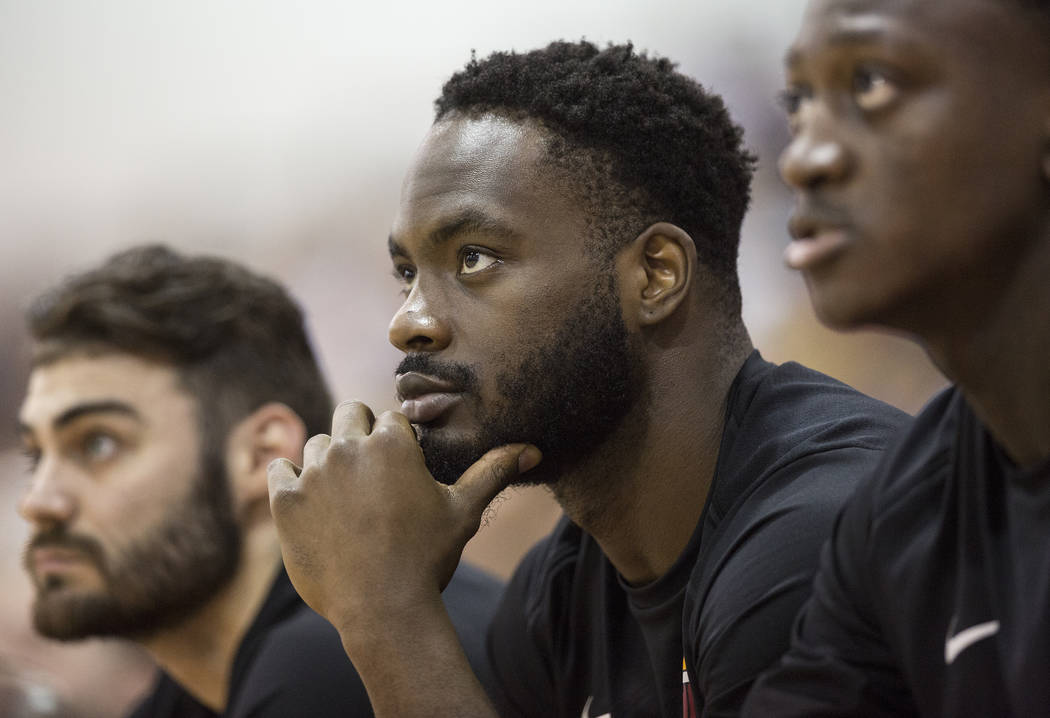 Heat guard Ike Nwamu, middle, during Miami's NBA Summer League game with the New Orleans Pelicans on Thursday, July 12, 2018, at Cox Pavilion, in Las Vegas. Benjamin Hager Las Vegas Review-Journal ...