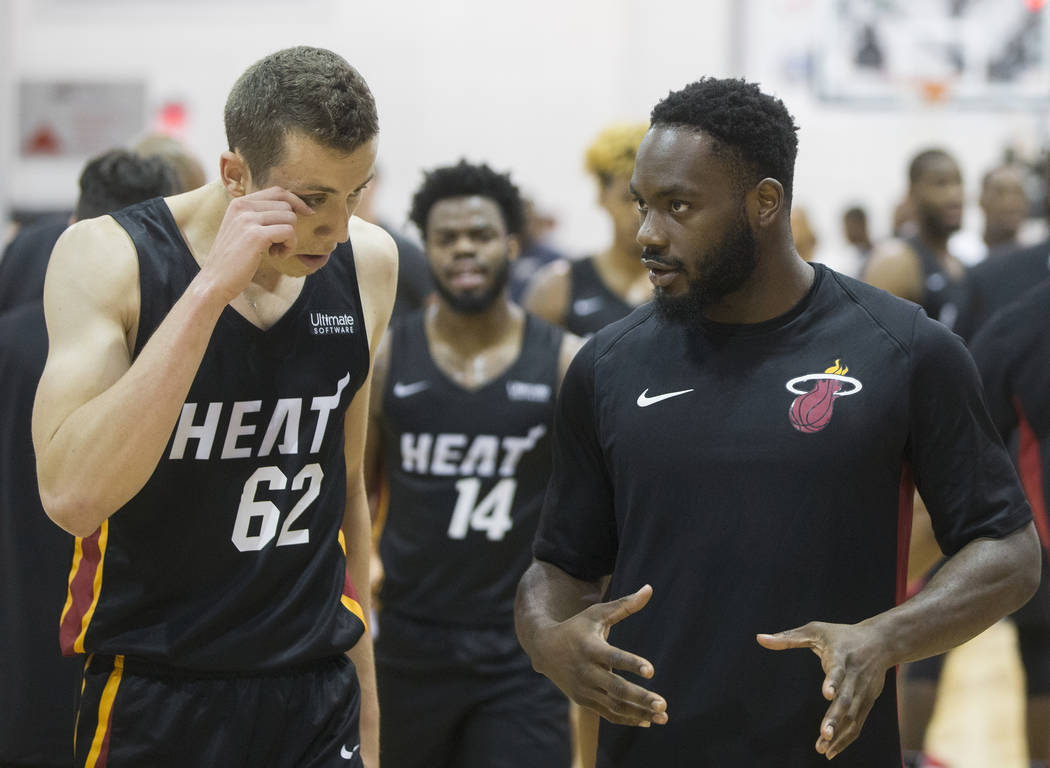 Heat guard Ike Nwamu, right, during Miami's NBA Summer League game with the New Orleans Pelicans on Thursday, July 12, 2018, at Cox Pavilion, in Las Vegas. Benjamin Hager Las Vegas Review-Journal ...