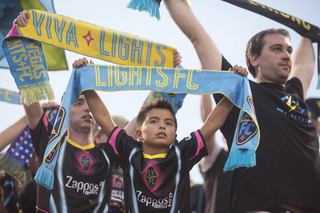 Las Vegas Lights FC fans cheer for Vegas before the start of their game with Saint Louis FC on Saturday, July 7, 2018, at Cashman Field, in Las Vegas. Benjamin Hager Las Vegas Review-Journal @benj ...