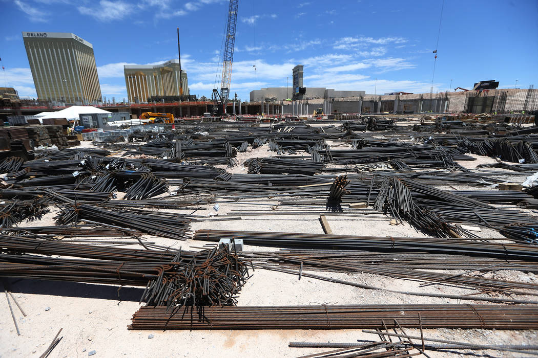 The construction site for the future Raiders stadium in Las Vegas, Thursday, June 28, 2018. (Erik Verduzco Las Vegas Review-Journal @Erik_Verduzco)
