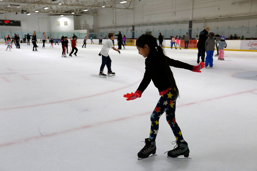 Aria Estrada, 8, of Las Vegas skates after her class at Las Vegas Ice Center in Las Vegas, Wednesday, July 18, 2018. Chitose Suzuki Las Vegas Review-Journal @chitosephoto