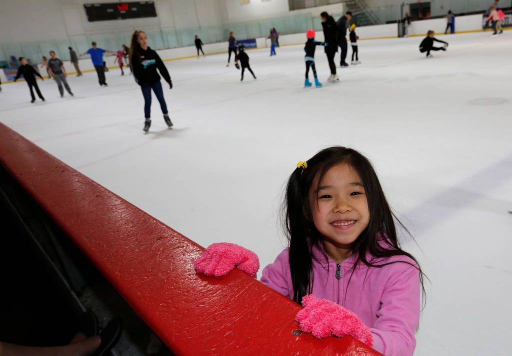 Erika Lam, 7, of North Las Vegas takes a break after her class at Las Vegas Ice Center in Las Vegas, Wednesday, July 18, 2018. Chitose Suzuki Las Vegas Review-Journal @chitosephoto