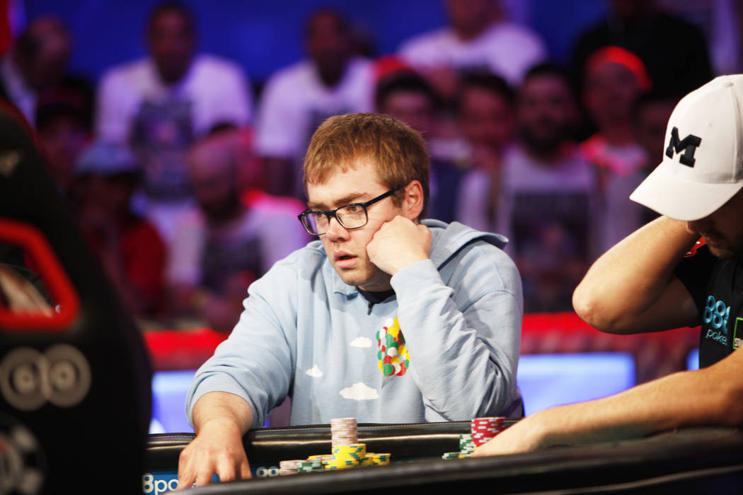 Michael Dyer holds the highest chip count during the eighth day of the World Series of Poker tournament at the Rio Convention Center in Las Vegas, Thursday, July 12, 2018. Rachel Aston Las Vegas R ...