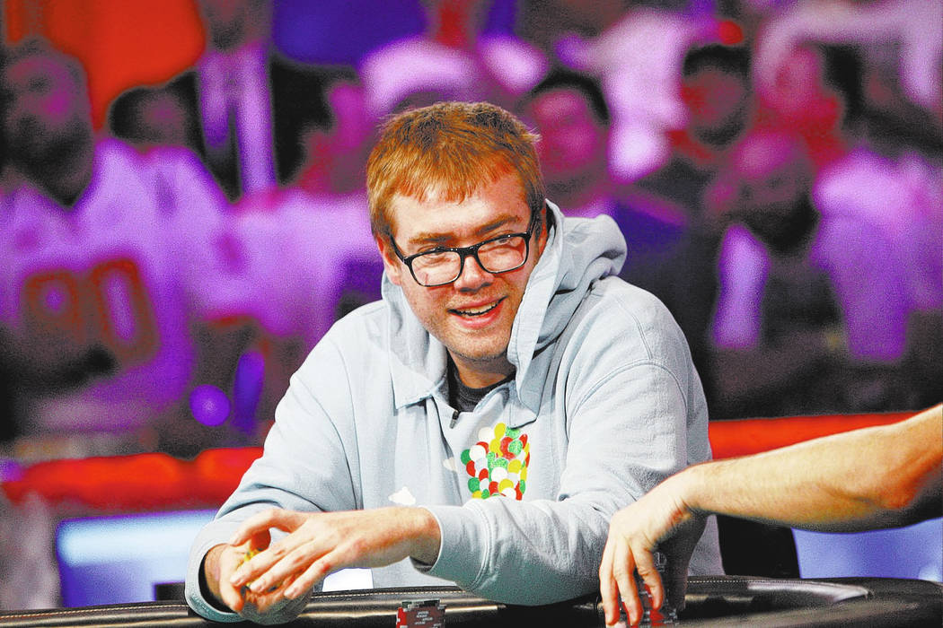 Michael Dyer, who holds the highest chip count, laughs during the eighth day of the World Series of Poker tournament at the Rio Convention Center in Las Vegas, Thursday, July 12, 2018. Rachel Asto ...