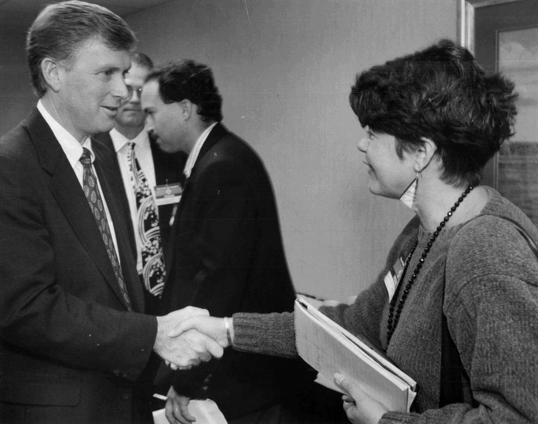 Vice President Dan Quayle shakes hands with political reporter Jane Ann Morrison when he came to Las Vegas and met with the Las Vegas Review-Journal editorial board. He served from 1089 to 1993. ( ...
