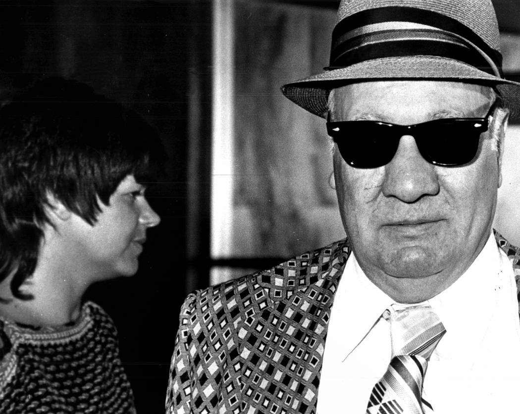 About 1982, federal court reporter Jane Ann Morrison looks away from the jacket worn by then-Teamsters Union official Joseph Talerico, who was granted immunity in the Stardust skimming case, but w ...