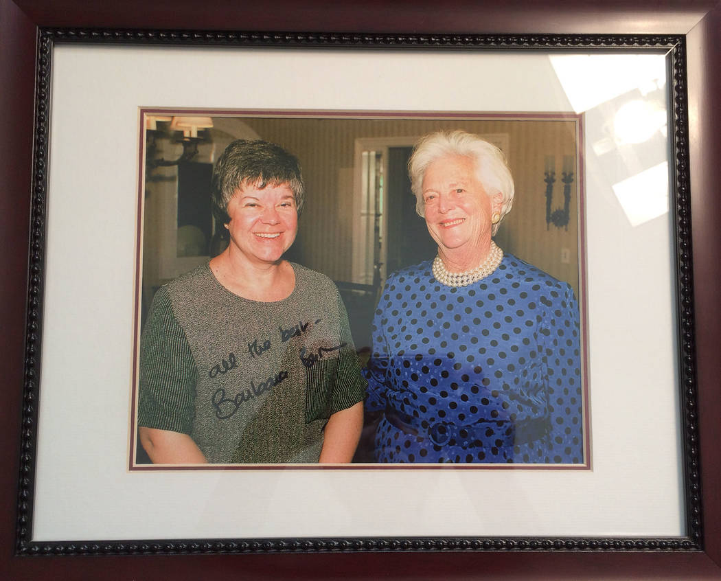 The late Barbara Bush, right, gave a 45-minute interview to then political reporter Jane Ann Morrison on Oct. 13, 1999. She was in Las Vegas fundraising for her son's presidential bid.