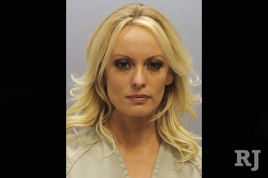 This photo provided by the Franklin County Sheriff's Office on Thursday, July 12, 2018, shows porn actress Stormy Daniels. (Franklin County Sheriff's Office via AP)