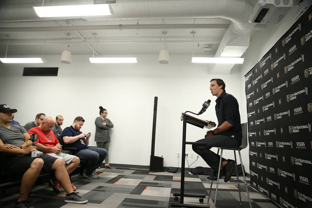 Golden Knights goaltender Marc-Andre Fleury, who signed a three-year contract extension with his team, during a press conference at City National Arena in Las Vegas, Friday, July 13, 2018. Erik Ve ...