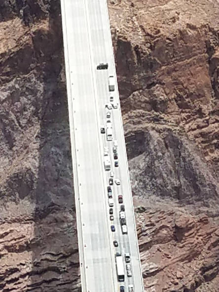 Matthew Wright of Henderson blocks the southbound lanes on the Mike O'Callaghan-Pat Tillman Bridge near the Hoover Dam on Friday. (Arizona Department of Public Safety)