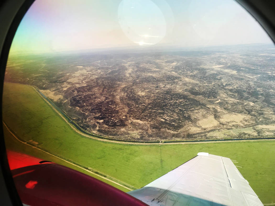 Photograph taken during an operations flight showing Martin Fire destruction in northern Nevada on July 10, 2018. (Bureau of Land Management)