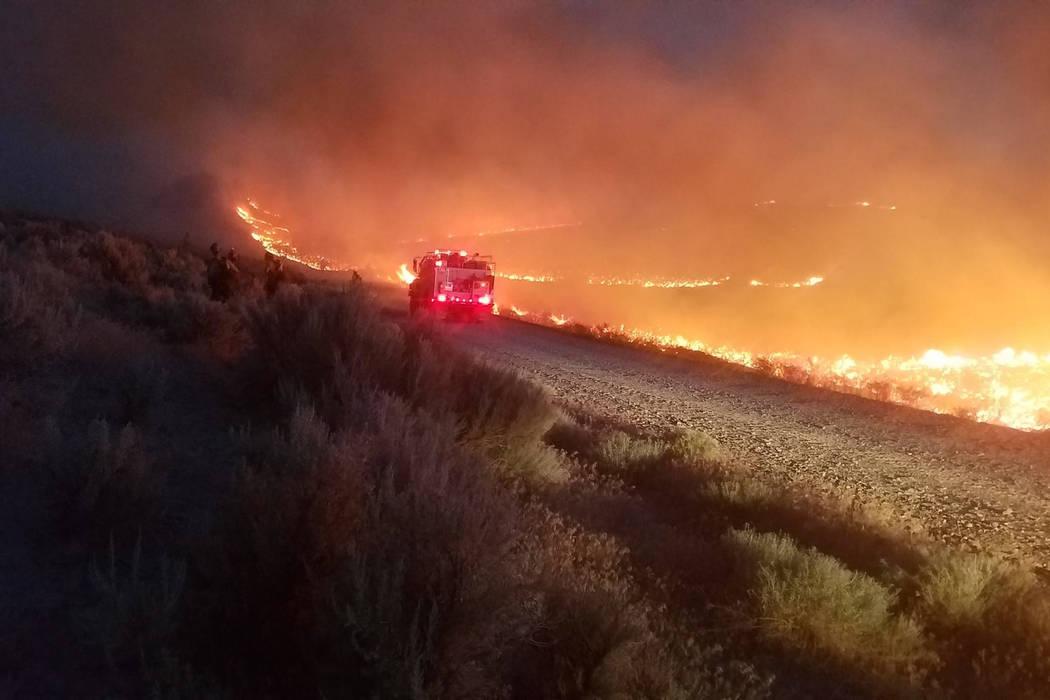 Undated photo of the Martin Fire burning in Northern Nevada. (Sebastian Christiansen, Sawtooth IHC via Bureau of Land Management)