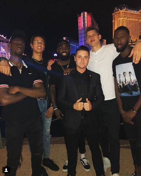 Caris LeVert, D.J. Wilson, Tim Hardaway Jr., Moritz Wagner and friends are shown at Hyde Bellagio on Tuesday, July 10, 2018. (Hyde Bellagio)