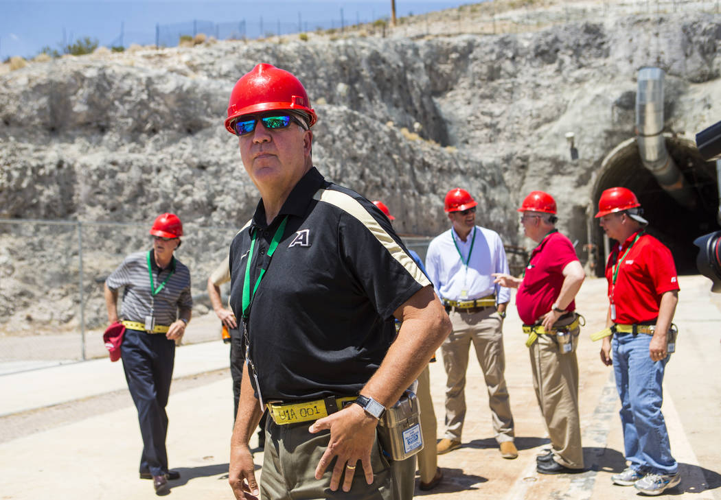 U.S. Rep. John Shimkus, R-Ill., stands outside of the north portal of Yucca Mountain during a congressional tour near Mercury on Saturday, July 14, 2018. Chase Stevens Las Vegas Review-Journal @cs ...