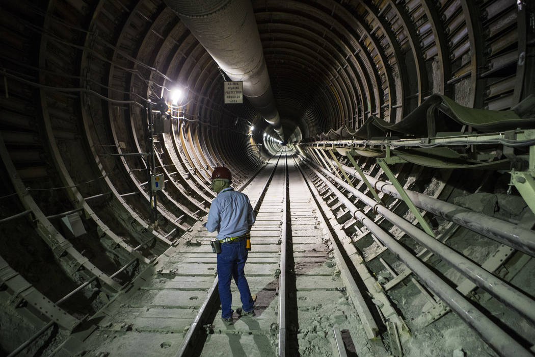 U.S. Rep. Greg Walden, R-Ore., walks through a tunnel extending from the south portal during a congressional tour of Yucca Mountain near Mercury on Saturday, July 14, 2018. Chase Stevens Las Vegas ...