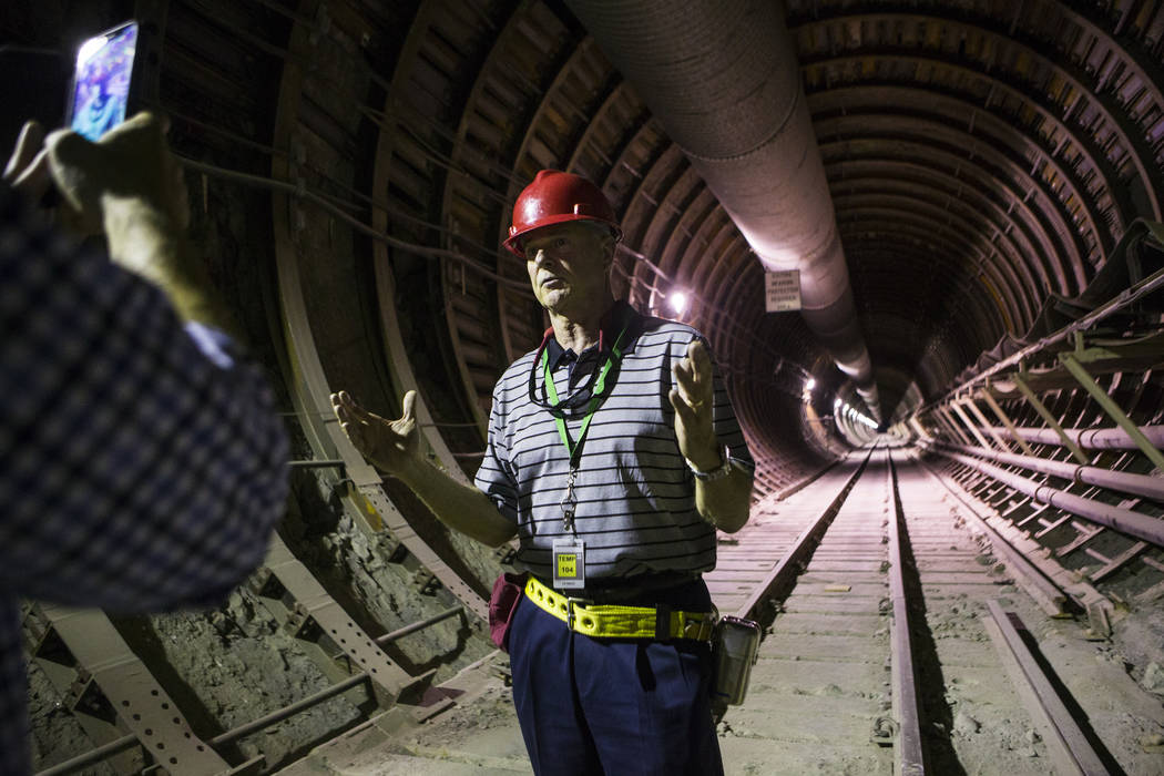 U.S. Rep. Steve Womack, R-Ark., speaks in the south portal of Yucca Mountain during a congressional tour near Mercury on Saturday, July 14, 2018. Chase Stevens Las Vegas Review-Journal @csstevensphoto