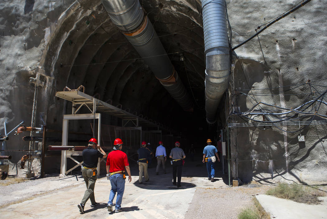 Members of a congressional tour make their way through the north portal of Yucca Mountain near Mercury on Saturday, July 14, 2018. Chase Stevens Las Vegas Review-Journal @csstevensphoto