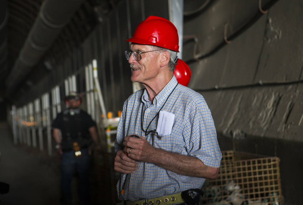 Wiilliam Boyle of the Department of Energy's Office of Nuclear Energy speaks in the north portal of Yucca Mountain during a congressional tour near Mercury on Saturday, July 14, 2018. Chase Steven ...