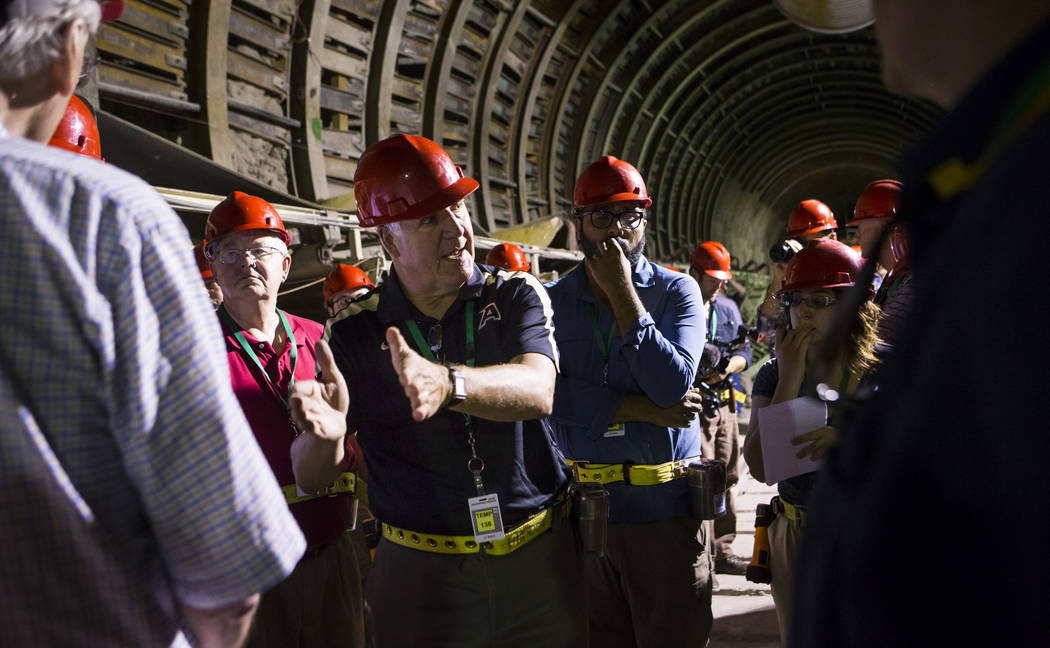 U.S. Rep. John Shimkus, R-Ill., speaks in the south portal of Yucca Mountain during a congressional tour near Mercury on Saturday, July 14, 2018. Chase Stevens Las Vegas Review-Journal @csstevensphoto