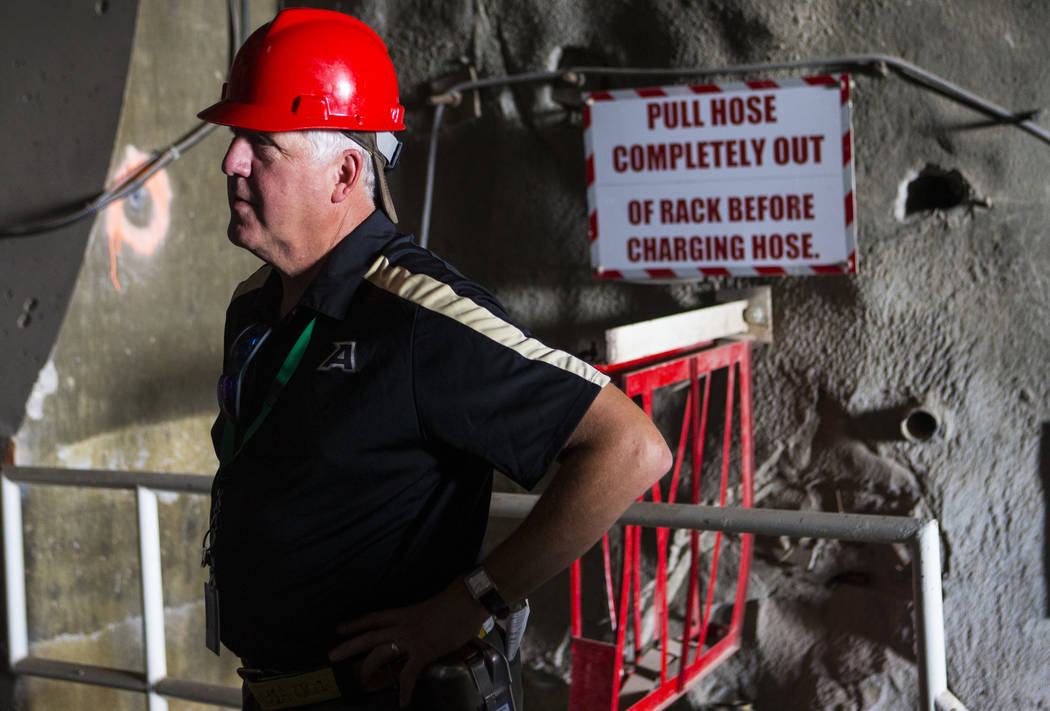 U.S. Rep. John Shimkus, R-Ill., stands in the north portal of Yucca Mountain during a congressional tour near Mercury on Saturday, July 14, 2018. Chase Stevens Las Vegas Review-Journal @csstevensphoto
